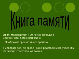 Идея: мероприятия к 70-летию Победы в Великой Отечественной войне Проблема: п