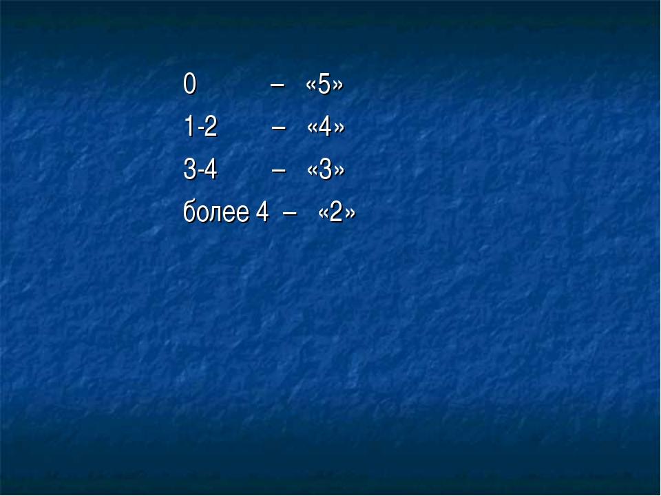 0 – «5» 1-2 – «4» 3-4 – «3» более 4 – «2»