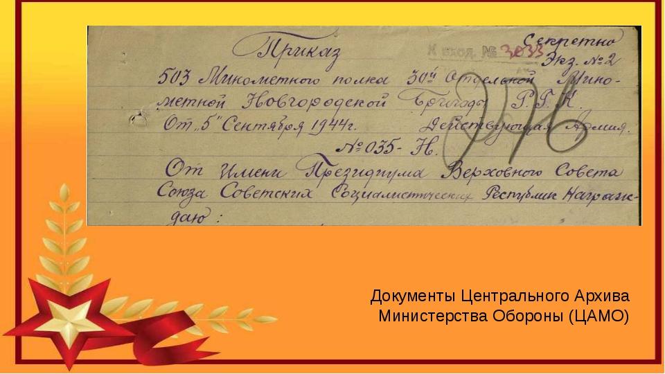 Документы Центрального Архива Министерства Обороны (ЦАМО)