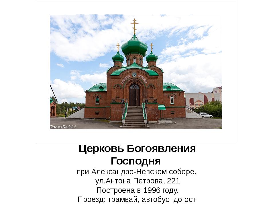 ЦерковьБогоявления Господня при Александро-Невском соборе, ул.Антона Петров...