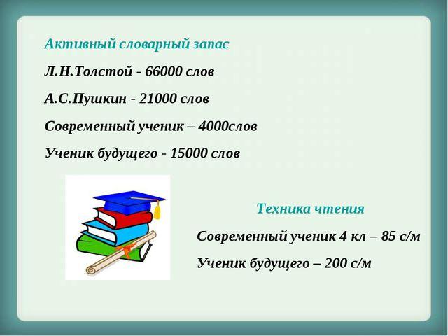 Активный словарный запас Л.Н.Толстой - 66000 слов А.С.Пушкин - 21000 слов Сов...