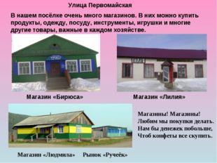 Улица Первомайская Магазин «Бирюса» Магазин «Лилия» Магазин «Людмила» Рынок «