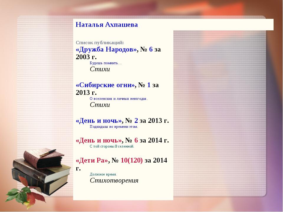 Наталья Ахпашева Список публикаций: «Дружба Народов», №6за 2003 г. Будешь...