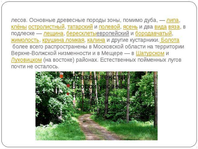 Бо́льшая часть территории области входит в зону смешанных лесов. Основные дре...