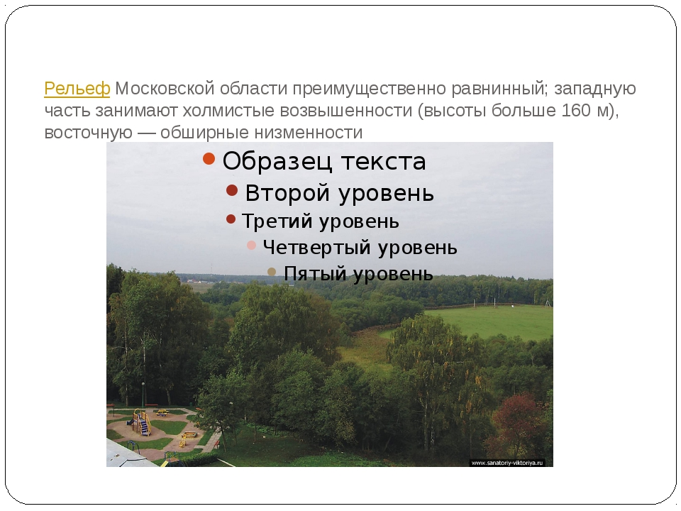 РельефМосковской области преимущественно равнинный; западную часть занимают...