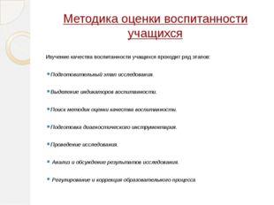 Методика оценки воспитанности учащихся Изучение качества воспитанности учащих