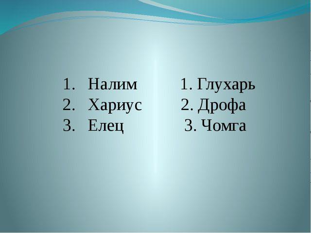 Налим 1. Глухарь Хариус 2. Дрофа Елец 3. Чомга