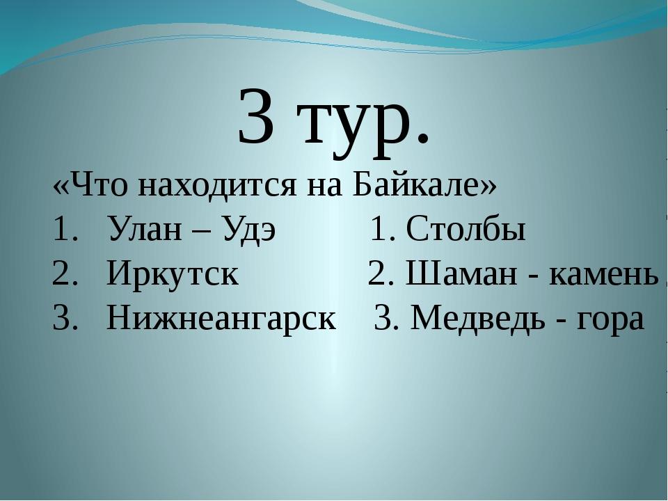 3 тур. «Что находится на Байкале» Улан – Удэ 1. Столбы Иркутск 2. Шаман - ка...