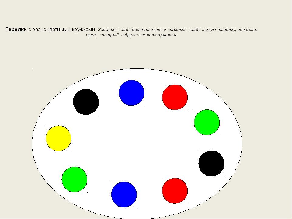 Тарелки с разноцветными кружками. Задания: найди две одинаковые тарелки; най...