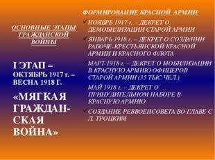 ОСНОВНЫЕ ЭТАПЫ ГРАЖДАНСКОЙ ВОЙНЫ ФОРМИРОВАНИЕ КРАСНОЙ АРМИИ: НОЯБРЬ 1917 г. –
