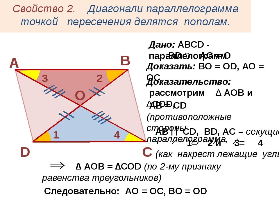 АВ  СD, ВD, AC – секущие 1= 2 и 3= 4 (как накрест лежащие углы) Свойство 2....