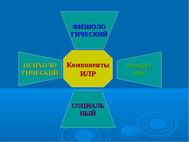 Компоненты ИЛР ФИЗИОЛО ГИЧЕСКИЙ ПСИХОЛО ГИЧЕСКИЙ СОЦИАЛЬ НЫЙ ЛИЧНОСТ НЫЙ