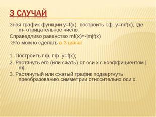 Зная график функции у=f(х), построить г.ф. у=mf(х), где m- отрицательное числ