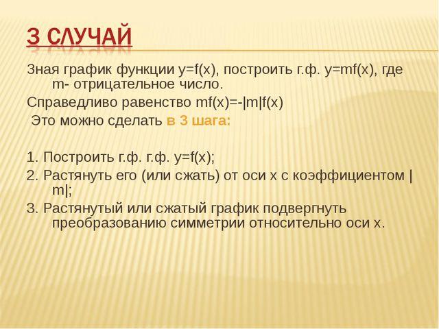 Зная график функции у=f(х), построить г.ф. у=mf(х), где m- отрицательное числ...