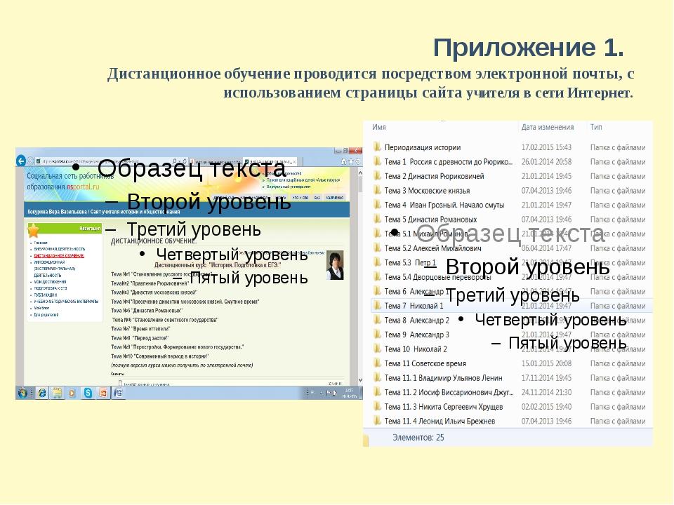 Приложение 1. Дистанционное обучение проводится посредством электронной почты...