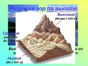 Высота гор бывает разной. Одни из них возвышаются на несколько сотен метров,