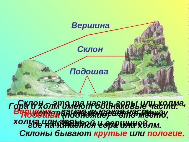 Вершина – самая высокая часть холма или горы. Склон – это та часть горы или...