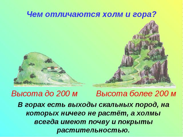 Чем отличаются холм и гора? В горах есть выходы скальных пород, на которых н...
