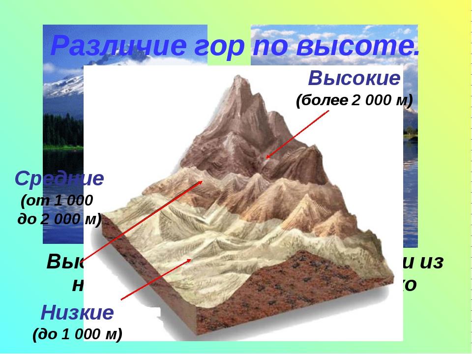 Высота гор бывает разной. Одни из них возвышаются на несколько сотен метров,...