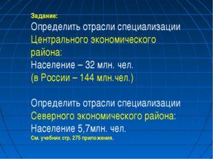 Задание: Определить отрасли специализации Центрального экономического района: