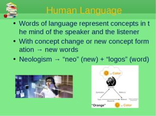 Human Language Words of language represent concepts in the mind of the speake