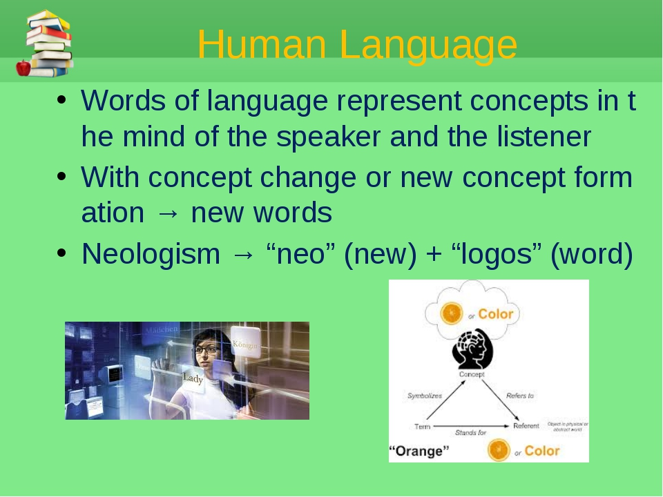 Human Language Words of language represent concepts in the mind of the speake...