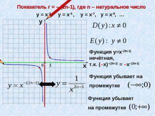 Показатель r = – (2n-1), где n – натуральное число 1 0 х у у = х-3, у = х-5 ,
