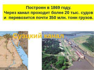 Суэцкий канал Построен в 1869 году. Через канал проходит более 20 тыс. судов
