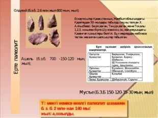 Олдувэй (б.з.б. 2,6 млн жыл-800 мың жыл); Ашель (б.з.б. 700 -150-120 мың жыл