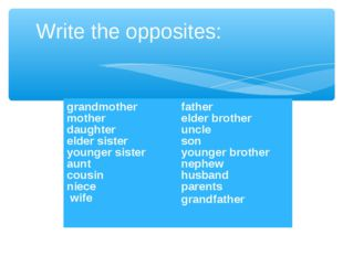 Write the opposites: grandmother mother daughter elder sister younger sister