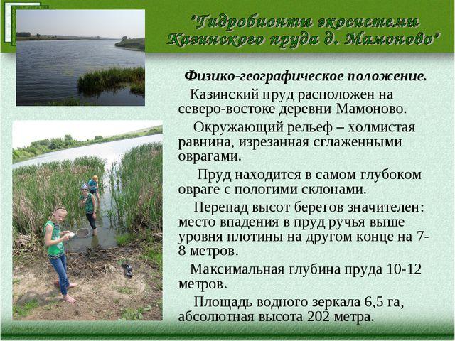 Физико-географическое положение. Казинский пруд расположен на северо-востоке...