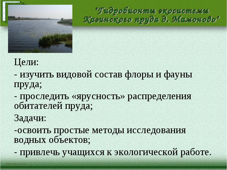 Цели: - изучить видовой состав флоры и фауны пруда; - проследить «ярусность»...