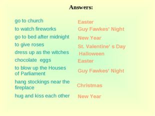 Easter Guy Fawkes' Night New Year St. Valentine' s Day Halloween Easter New Y