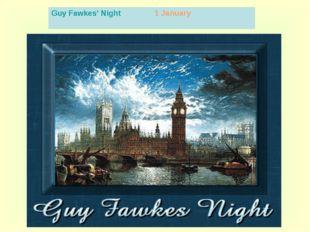 Guy Fawkes' Night 1 January
