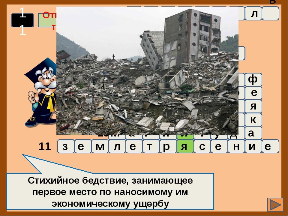1 2 3 4 5 6 7 8 9 10 11 Стихийное бедствие, занимающее первое место по нанос...