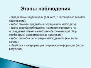 - определение задач и цели (для чего, с какой целью ведется наблюдение); - вы