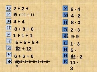 2 + 2 + 2 11 + 11 + 11 4 + 4 8 + 8 + 8 1 + 1 + 1 5 + 5 + 5 + 5 12 + 12 6 · 4