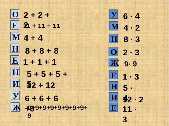 2 + 2 + 2 11 + 11 + 11 4 + 4 8 + 8 + 8 1 + 1 + 1 5 + 5 + 5 + 5 12 + 12 6 · 4...