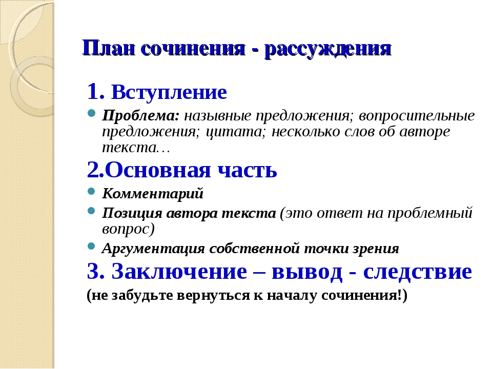 План сочинения - рассуждения 1. Вступление Проблема: назывные предложения; во...