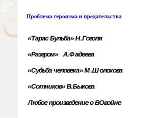 Проблема героизма и предательства «Тарас Бульба» Н.Гоголя «Разгром» А.Фадеев