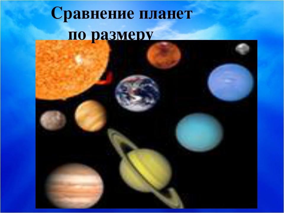 Сравнение планет по размеру