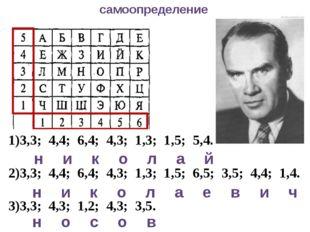 самоопределение 3,3; 4,4; 6,4; 4,3; 1,3; 1,5; 5,4. 3,3; 4,4; 6,4; 4,3; 1,3; 1