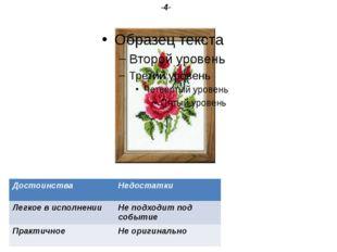 Вышивка. -4- Достоинства Недостатки Легкое в исполнении Не подходит под событ