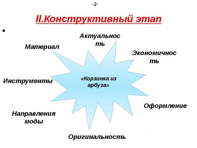 ll.Конструктивный этап -2- Актуальность Экономичность Оформление «Корзинка из...