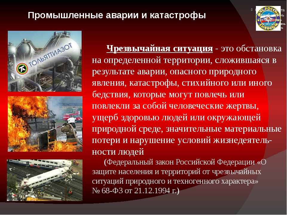 Промышленные аварии и катастрофы Чрезвычайная ситуация - это обстановка на о...