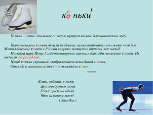 к ньки Коньки – узкие стальные полозья, прикрепляемые для катания на льду. Пе
