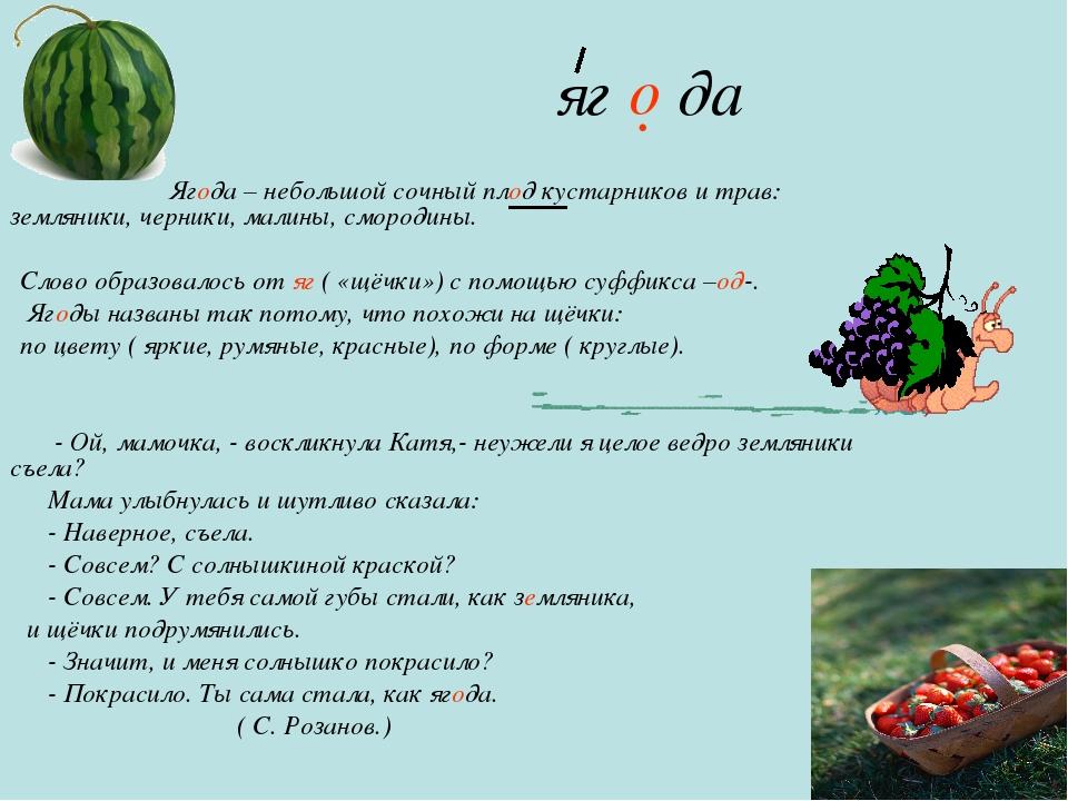 яг да Ягода – небольшой сочный плод кустарников и трав: земляники, черники,...