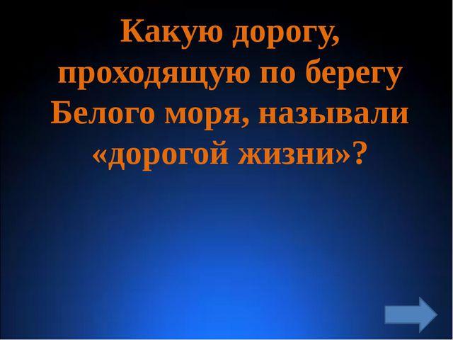 Какую дорогу, проходящую по берегу Белого моря, называли «дорогой жизни»?