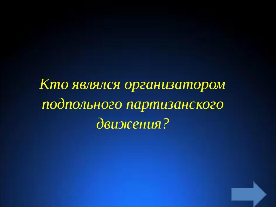 Кто являлся организатором подпольного партизанского движения?