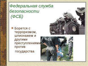 Федеральная служба безопасности (ФСБ) Борется с терроризмом, шпионажем и дру